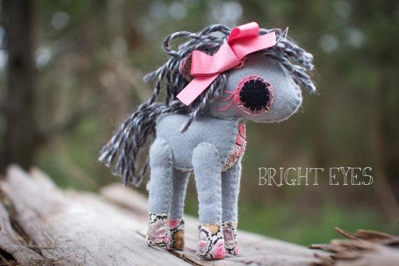 Adorable Handmade Plush Horse by Brighteyesshop on Etsy