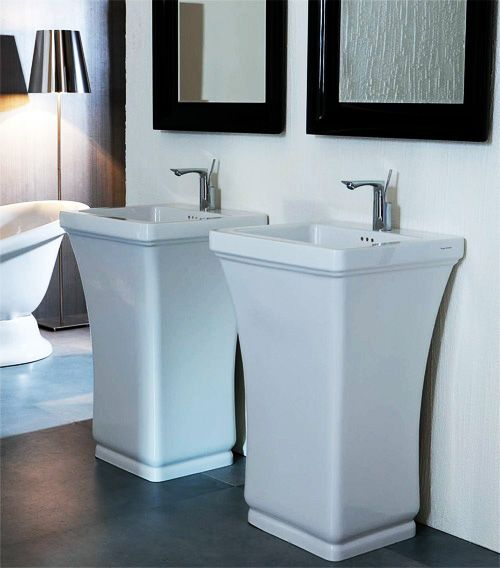 This neoclassical bathroom by Disegno Ceramica boasts all the classical charm of the early 1900′s bathroom suite, but reinterpreted in a modern way