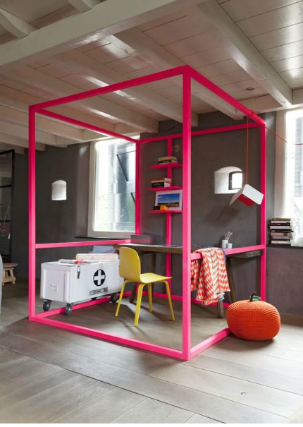 'Transparent and striking at the same time: this easily movable cube frame in fluorescent pink marks the workplace. Put a strikingly colored chair and a desk in your office and today is ready. Extra idea: some brightly colored frame is just as fun as four-poster bed.' // Vtwonen from July 2013, Styling: French Uyterlinde, Photography: Jansje Klazinga