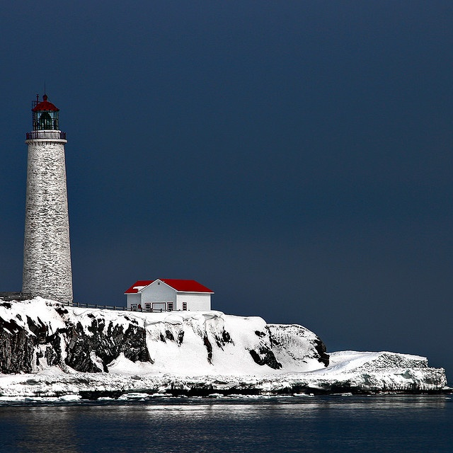 Gaspèsie, Quebec in the winter. #lighthouse #Canada #Canadian
