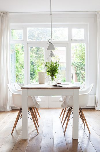 A bright dining space.