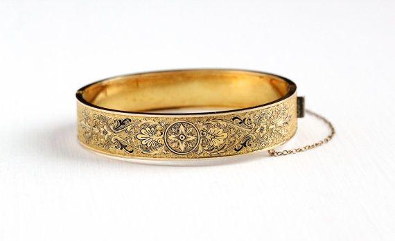 Sale - Vintage 10k Yellow Gold Filled Hinged Flower Black Enamel Bangle - Art Deco 1930s Floral Vine Taille d'Epargne Bracelet PSCO Jewelry by Maejean Vintage on Etsy