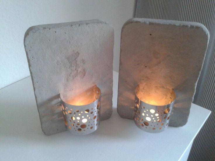 Kerzenhalter rustikaler Beton und Edelstahl