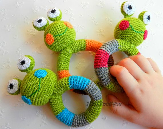 Crochet baby toy, Teething baby toy,  Grasping and Teething Toys Eco-Friendly Frog, Apple green