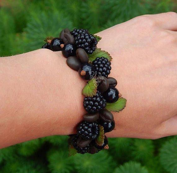 Coffee blackberry  charm bracelet  berry fruit bracelet