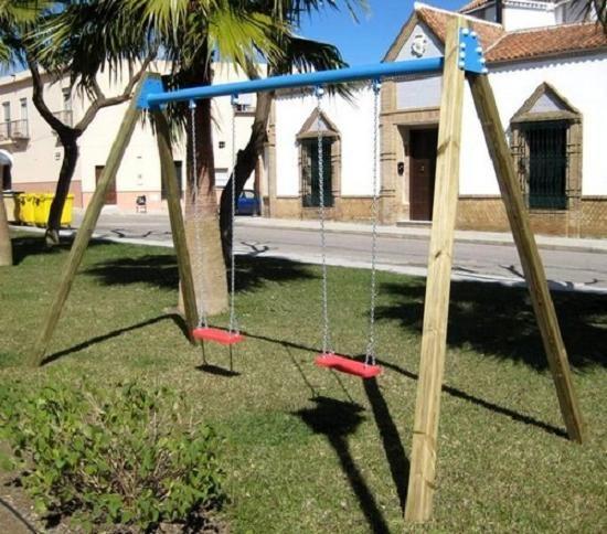 Columpio de madera HOMOLOGADO uso comercial ASL_225C, IndalChess.com Tienda de juguetes online y juegos de jardin