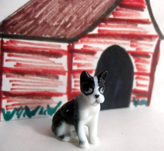 Miniature Boston Terrier Dog Figurine by MothersMiniTreasures, $4.25