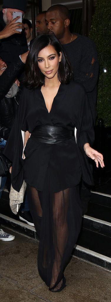 Kim Kardashian Kept It Sexy With a Sheer Maxi Skirt During Paris Fashion Week