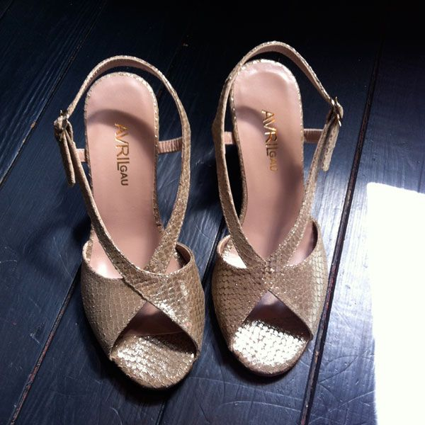 Avril Gau Gold Wedge Heels