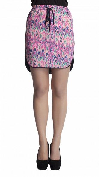 sbuys - Aztec Print Skirt with piping on side #sbuys #aztec #spring #skirt #highlow Shop now at www.sbuys.in