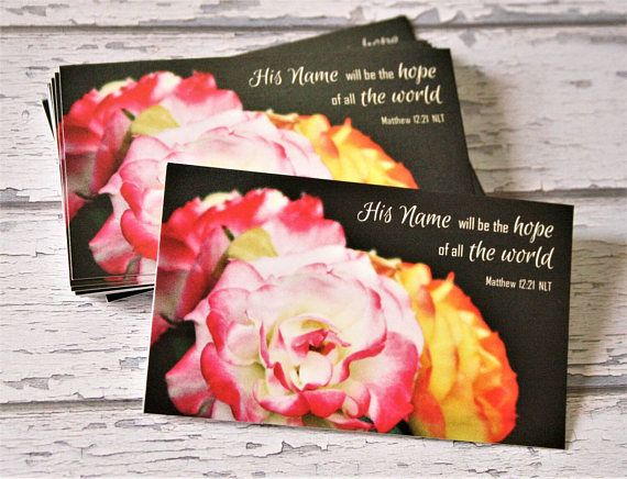 Inspirational Palm Cards Bible Verse Memory Rose Flower