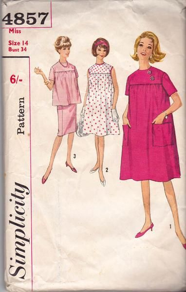 Simplicity 4857 Womens Maternity Smock Top & Skirt 60s Vintage Sewing Pattern Size 14 Bust 34 inches