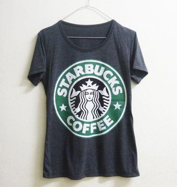 Short sleeve tshirt size S M L XL Dark grey Starbucks tshirt coffee mermaid star crew neck women t shirts on Etsy, $14.00