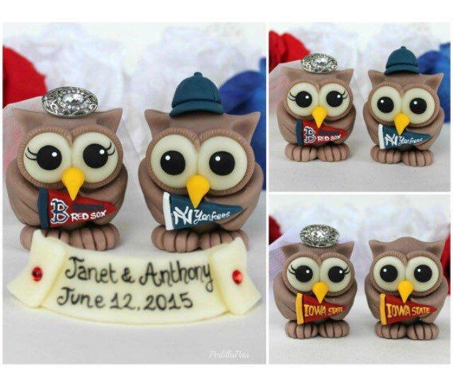 Owl wedding cake topper, baseball wedding https://www.etsy.com/listing/271299784/owl-love-bird-wedding-cake-topper-sports