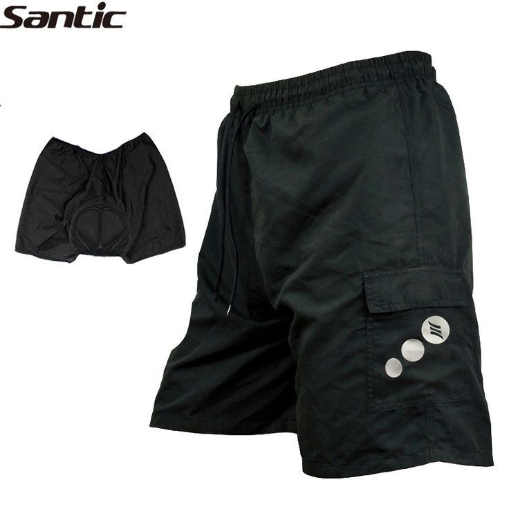 Santic VTT Vélo de Route Hommes Lâche Shorts Vtt/Vélo Loisirs Baggy 3D Rembourré Épaississement Sport Cycle Porter 7 Tailles