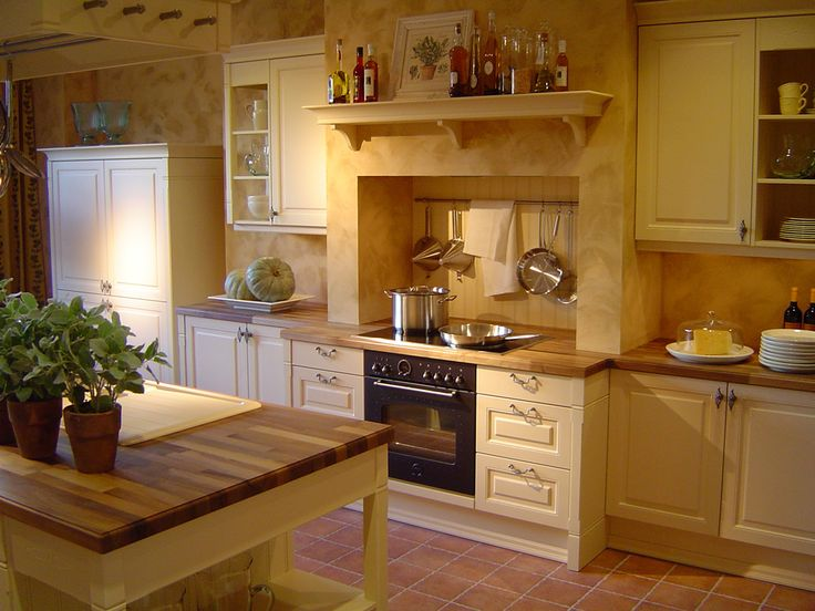 traditional farm kitchen with butcher block countertops