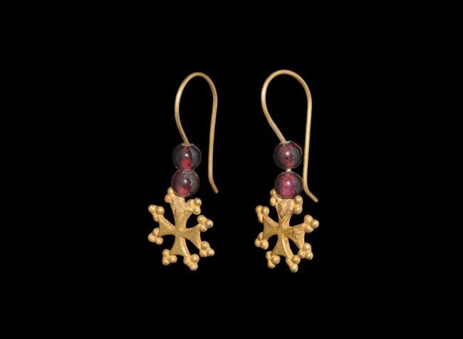 Byzantine Gold and Garnet Cross Earring Pair, 9th-12th century.