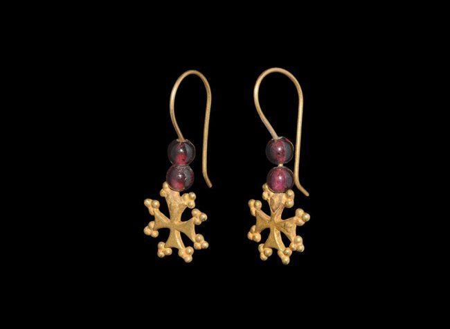 Byzantine Gold and Garnet Cross Earring Pair, 9th-12th century.