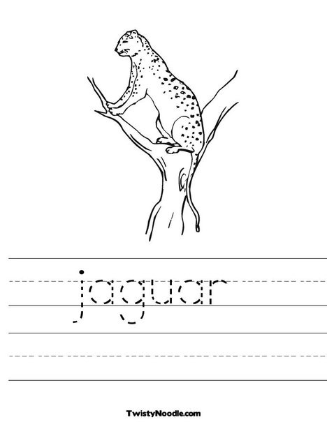 jaguar tracing worksheet animals in the wild themed worksheets pinterest tracing. Black Bedroom Furniture Sets. Home Design Ideas