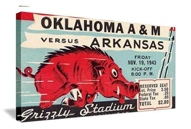 1943 Arkansas Football Ticket Art. http://www.christmasfootballgifts.com/ Christmas football gifts. Best football gifts in America.   Best Cyber Monday Gifts!   http://www.bestcybermondaygifts.com/ Best Cyber Monday Gifts on Pinterest. Best football gifts on Pinterest! #47straight #bestcybermondaygifts #pinterest