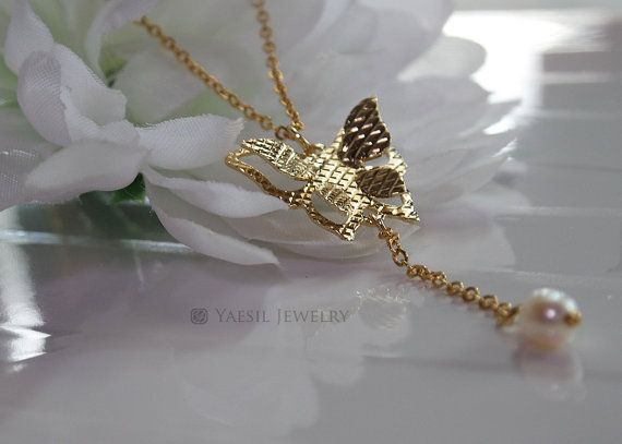 Butterfly Necklace Y-Necklace Layering Necklace by YaesilJewelry