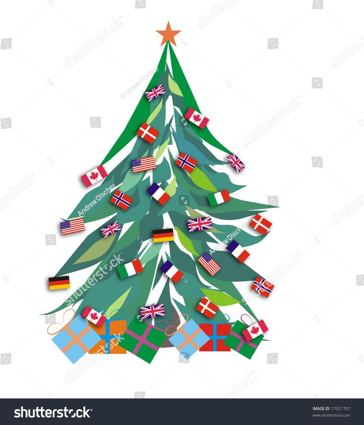 Image result for christmas tree with different countries flags