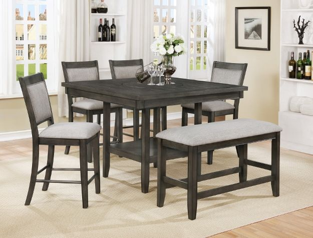 2727gy 6pc 6 Pc Gracie Oaks Fulton Grey Wood Finish Counter Height Dining Table Set With Lazy Susan Counter Height Dining Table Set Counter Height Dining Sets Counter Height Dining Table