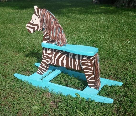 Zebra Rocking Horse by HayDayLiving on Etsy, $125.00