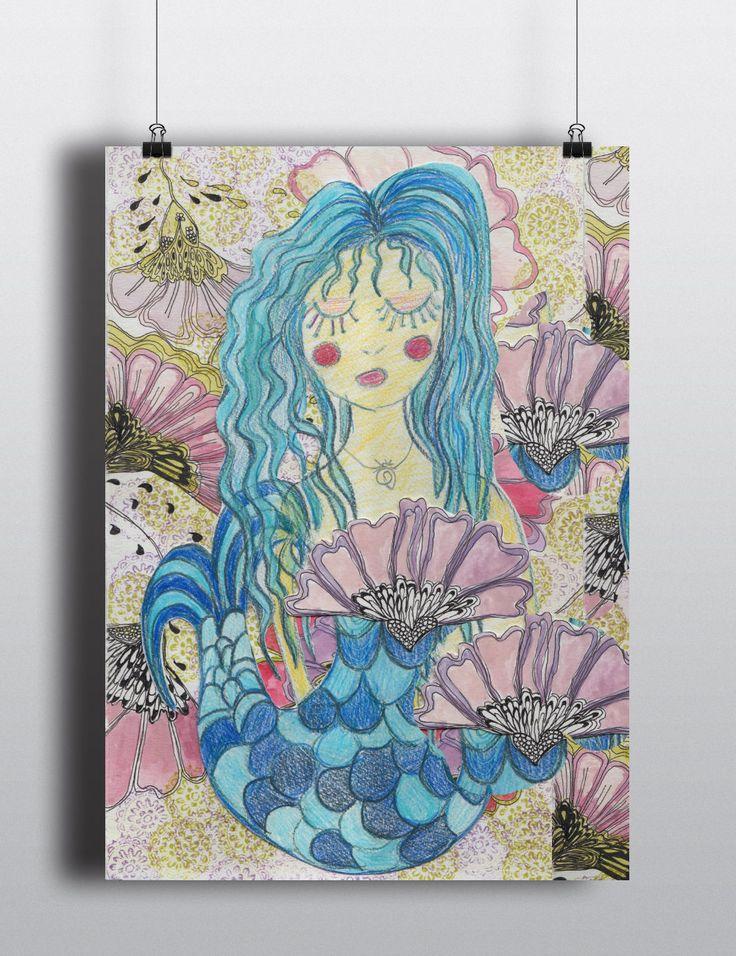 Mermaid A4 Poster Printable Files|Digital Down load| 3 files| Hand drawn Mermaid by PaperJamink on Etsy