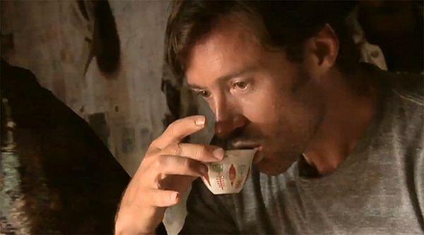 Hugh Jackman enjoying a cup of tea!