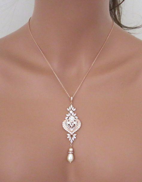 Rose Gold Braut Halskette Rose Gold Anhänger Halskette Brautschmuck Rose Gold Brautjungfer Halskette Hochzeit Halskette Perlen Halskette EMMA – Ideen für die Hochzeit