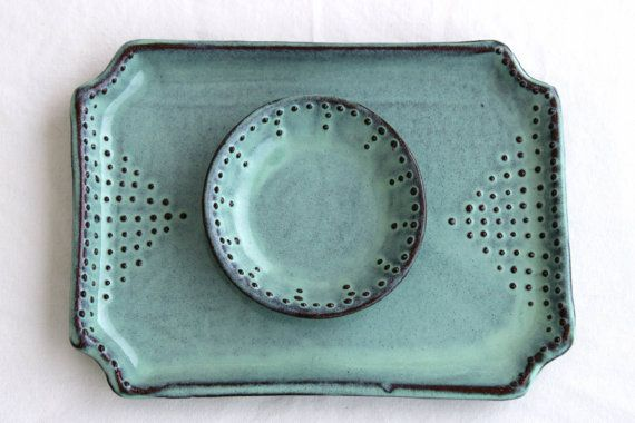 Rectangular Tray with Dot Design - Rustic Aqua Mist - Modern Serving Dish Home Decor