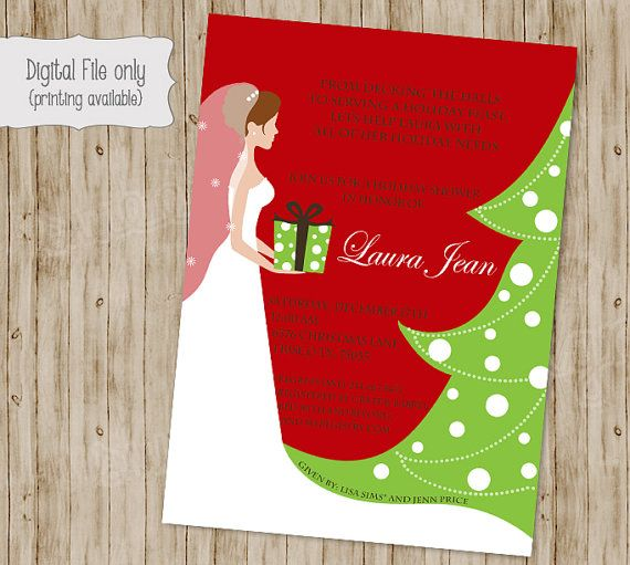 Christmas Bridal Shower Invitation by SweetBeeDesignShoppe on Etsy