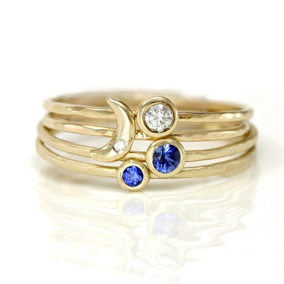Diamond Heart, Diamond, and two Sapphire Rings - Stacking Ring Set of Four in 14k Rose Gold