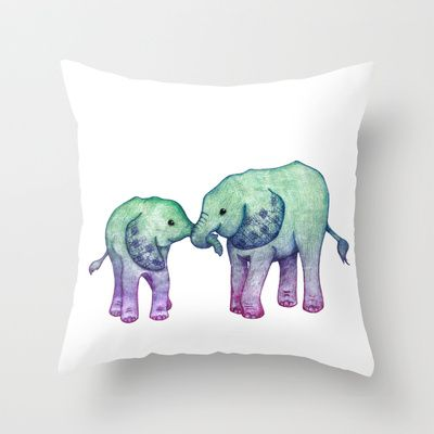Baby Elephant Love - ombre mint  purple Throw Pillow by Perrin Le Feuvre - $20.00