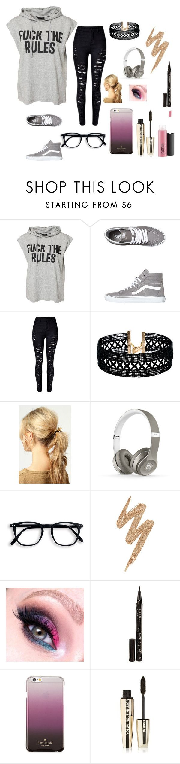 """f*ck the rules rtd"" by lifeissweet170000 ❤ liked on Polyvore featuring Sally&Circle, Vans, Vanessa Mooney, Boohoo, Beats by Dr. Dre, Urban Decay, Smith & Cult, Kate Spade, L'Oréal Paris and MAC Cosmetics"