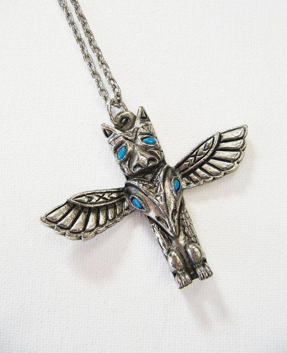 Vintage Native American Totem Pole Unisex Necklace Silver