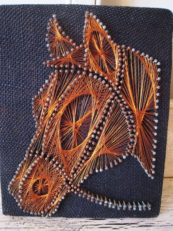 Vintage String Art Horse Picture by Thebeezkneezvintage on Etsy