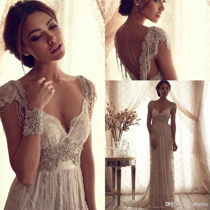 2015 sexy v neck backless anna campbell lace a line for Anna campbell vintage wedding dress
