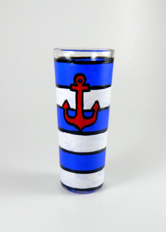 Anchors Away Hand Painted Shot Glass by ImpulsiveCreativity, $10.50