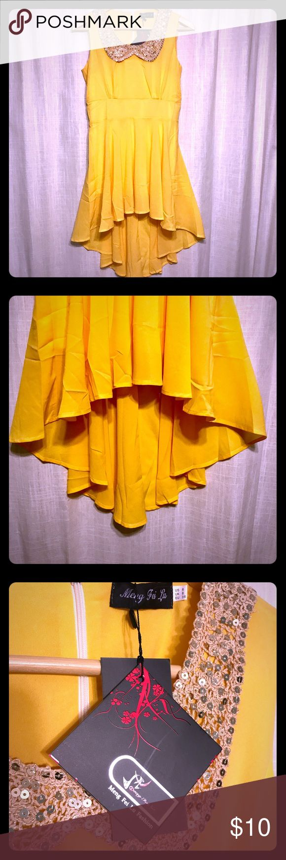 Yellow Dress with Sequin Collar. Asymmetrical Hem Sunny yellow dress with sparkly sequin collar. Purchased to use as Belle Costume. Never worn. New with tags. US 6 UK 8. Meng Fei Lu Dresses Asymmetrical