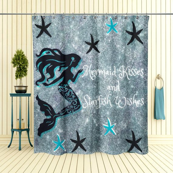 Mermaid Shower Curtain Mermaid Wishes And Starfish Kisses Optional Bath  Mat, Towels