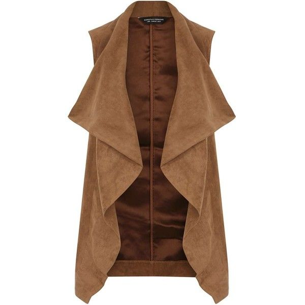 Dorothy Perkins Tan Suedette Waterfall Gilet found on Polyvore featuring outerwear, vests, jackets, coats, coats & jackets, brown, draped vest, tan vest, brown waistcoat and brown vest
