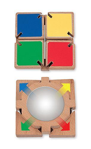 COLOUR FLAP MIRROR (ESPEJO IRROMPIBLE) Un espejo irrompible brillante esconde detrás de cuatro tablillas de madera de colores. Voltear con un clic y un clack para deleitar a los bebés y niños pequeños! La alegría de la detección de su propia reflexión alienta la exploración táctil, mejora la coordinación ojo-mano y la motricidad fina de forma natural.  http://www.babycaprichos.com/colour-flap-mirror-espejo-irrompible.html