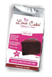 Love Cake Organic Chocolate Cake Mix, includes icing mix.  Our most popular mix and a favourite for birthday parties! {Dairy free, gluten free, soy and nut free - egg free baking option}