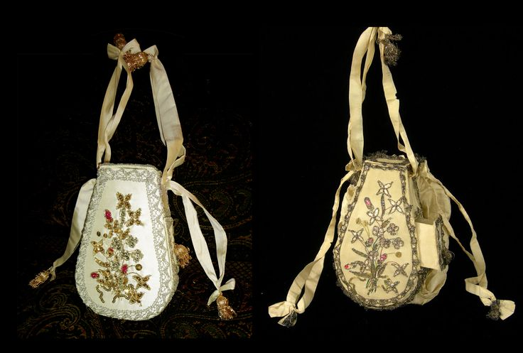 This workbag was inspired by an original in the Colonial Williamsburg collection (Acc. No. 1960-730). The reproduction was made to approximately the same size, and with similar materials. A woman's workbag or sewing purse of silk, elaborately embroidered with silk, gold metallic threads and sequins, and edged with silver lace.