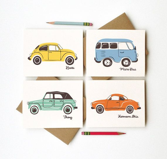 Vroom Vintage Cars Social Stationery set of 4 cards illustrated vw volkswagen beetle bug bus primary colors framable art vintage chic decor on Etsy, $12.00