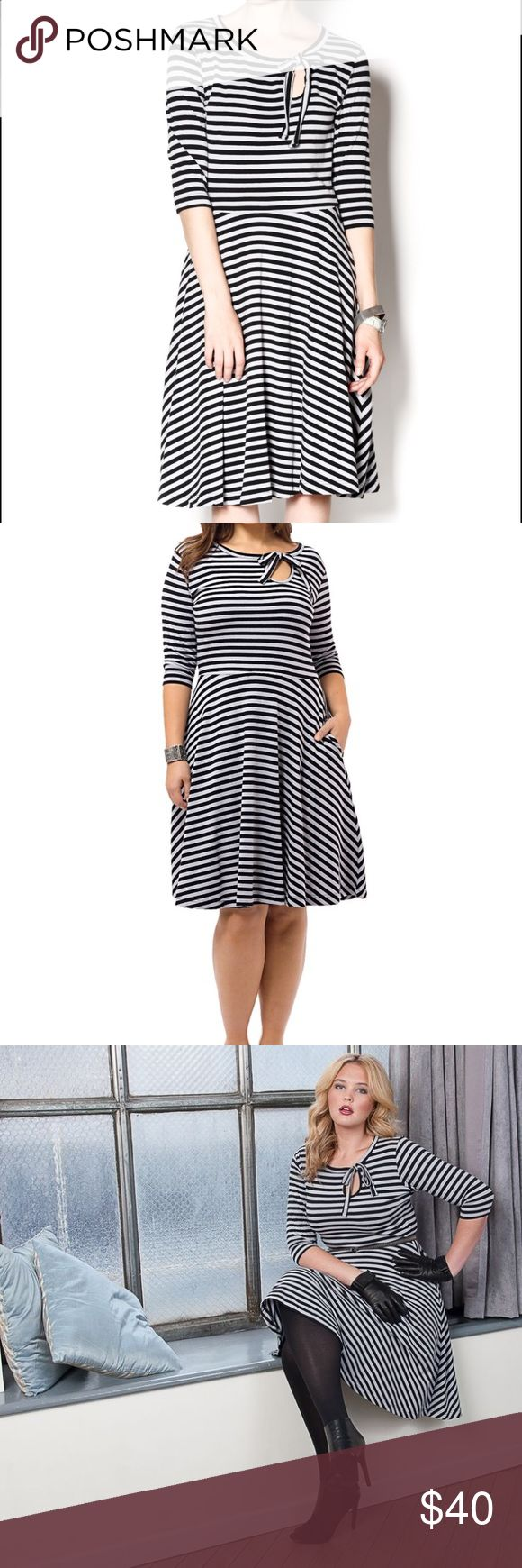 Effie's Heart Elysees Striped Dress Stretch cotton-knit A-line dress with knotted accent and keyhole at crew neck, defined drop waist, pockets at full skirt, allover stripe print.Elysees Dress in Gray & Black Stripe from Effie's Heart. Composed of a soft and sturdy cotton-blend, this gray and black stripe dress features a bevy of horizontal and figure-flattering diagonal stripes, smooth three-quarter sleeves, and a vintage-inspired full skirt. Like New Condition only wore once! ModCloth…
