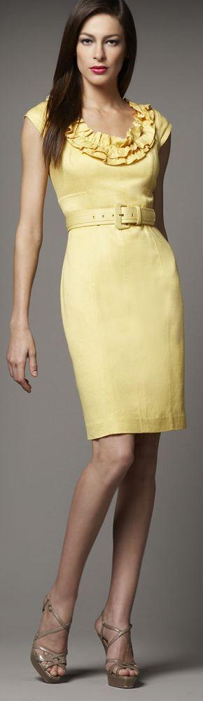Kay Unger New York #vestido #tubinho #babado #amarelo #cinto