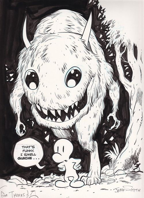 """Check this out! Brand new BONE art by Jeff Smith!  """"Jeff was invited as a Special Guest of the Comic Arts Brooklyn show, which was held earl..."""
